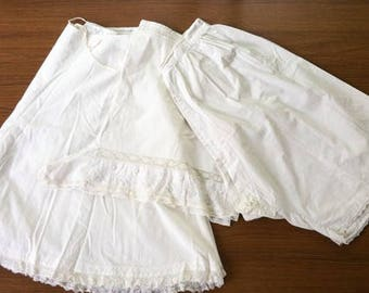 Antique Cotton Bloomers, Lot of 3, Lace, Embroidered