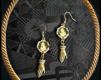 Handmade OOAK  long dangle Virgin Mary and hands earrings