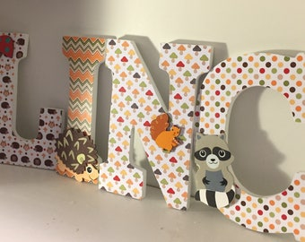 Woodland letters, animal letters for baby nursery