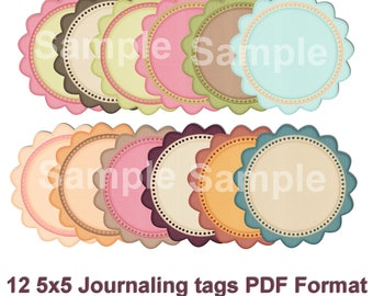 12 5x5 Journaling Psd Tag's Digital Printable Commercial Use
