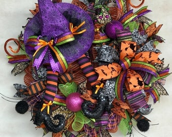 Halloween Witch, Fun Witch,Whimsical Halloween Witch, Trick or Treat, Fall wreath