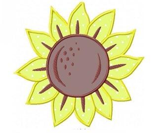 Sunflower Applique Machine Embroidery Digital Download