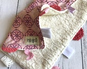 Baby Taggy Comforter, security blanket, baby Gift - Pink Circles