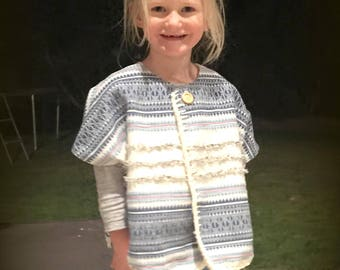 """Girls """"Wandering Heart"""" Cape jacket - Indigo and Cream Mexican Weave with hand crotcheted edging - Sizes 1,2,3,4,5,6,"""