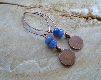 Tanzanite and copper earrings / / Bohemian / nature jewelry