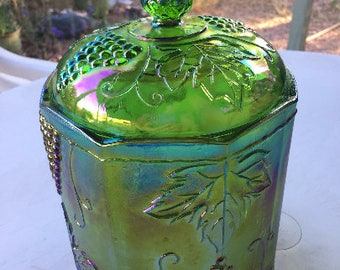 Green and Gold Carnival Glass Large Canister Fruit Design