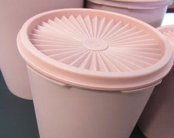 Vintage Set Pink Plastic Tupperware Container Canisters