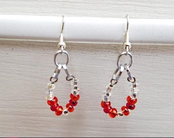 Earrings, Silver earrings, silver red earrings, nickel free earrings ghilou, fancy earrings, drop earrings