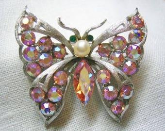 Vintage Aurora Borealis Rhinestone Butterfly Brooch CORO