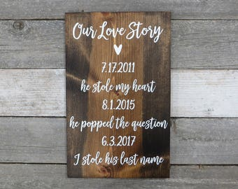 "Our Love Story Personalized Wood Sign - Wedding Gift, Anniversary Gift, Wedding Reception  - 18""x11.25"""