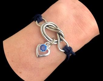 Open Heart Birthstone Forget Me Knot Bracelet