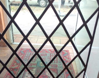 Old lead glazing leaded glass around 1900--1920 in good condition 34 x 41 cm with Diamonds