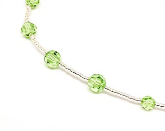 Swarovski beaded necklace - Peridot round beads - August birthstone - dainty necklace