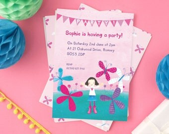 Personalised Girl's Butterfly Party Invitations (choose the hair colour) -- Minimum order 8