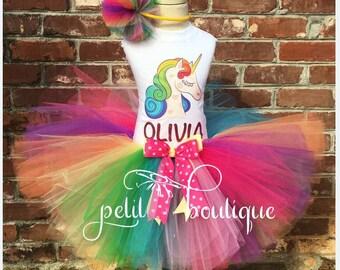 Rainbow Unicorn Birthday Tutu Set size available 12m to 10/12y