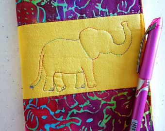 Elephant Quilted Journal / Journal Notebook  / Writing Journal / Handmade Journal / Elephant Gift Idea / Thoughtful Gifts / Dream Journal