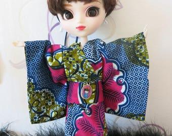 African fabric kimono Pullip and Shibajuku