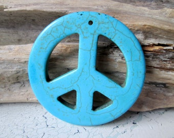 1 Peacezeichen turquoise blue XL * 55x5mm * peace sign * stone * beads * charms * jewelry making