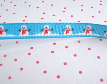 blue snowman ribbon christmas ribbon snowman ribbon fabric ribbon sold per metre