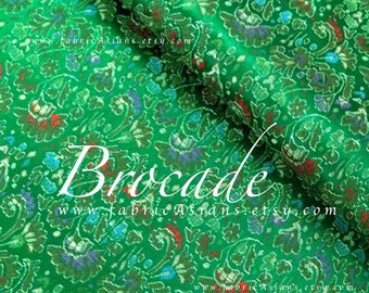 Emerald Green Brocade Fabric by the yard