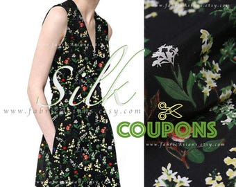 Tana Lawn Black silk crepe fabric by the yard - seide stoff kaufen