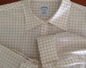 Dress Shirt; Women's Career Dress Shirt ; Fitted Shirt - White / brown Checks Non-Iron  Brooks Brothers business Cotton shirt; Size 16