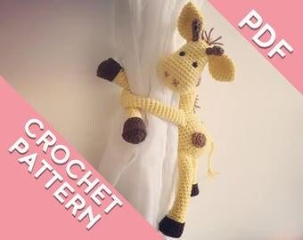 Giraffe curtain tie back crochet PATTERN, tieback, left or right side crochet pattern PDF instant download amigurumi PATTERN