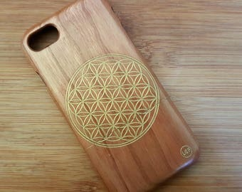 iPhone 7 Custom Design 'Flower of Life' Natural Cherry Wood Phone Case with Antique Gold engraving