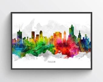 Tulsa Skyline Print, Tulsa Cityscape, Tulsa Print, Tulsa Art, Tulsa Decor, Home Decor, Gift Idea, USOKTU12P