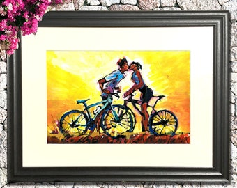 Kissing cyclists by the sunset | Original CYCLING Gloss Paint Art on canvas 30cm/40cm