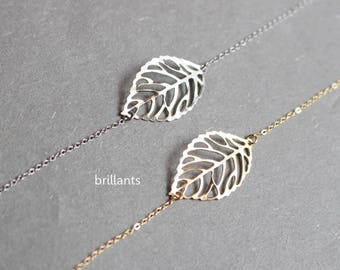 Filigree Leaf bracelet, Gold or Silver, Personalized bracelet, Everyday bracelet, Bridesmaid gift, Wedding bracelet