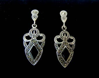 Pr of .925 Sterling Silver & Black Onyx Dangle Earrings 6.5g E2135