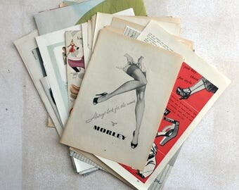 A shoes themed selection of ephemera. Pack for art, collage or journaling. Adverts and magazine pages.