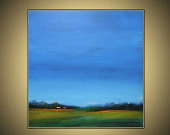 Abstract Original OIL painting on canvas,,blue,green ,yellow ,original painting,