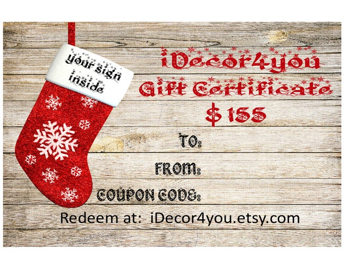 Last Minute Gift Certificate Printable Digital Christmas Gifts Card for Her, Gifts for Co-Workers, Easy Christmas Cards