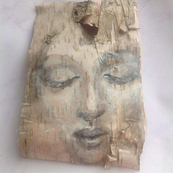 Tranquility Birch Bark Original Painting wall art Woodland Theme Art woman's face nature natural
