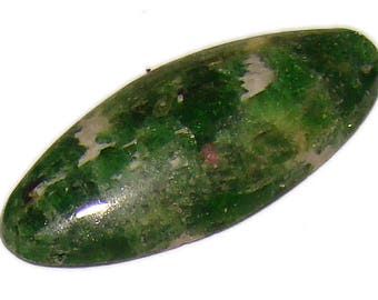 Green Chrome Diopside (Yakutian Emerald) Cabochon. Yakitia, Russia. Top Quality