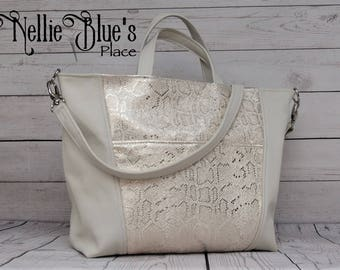 Leather Tote Bag in Cream with Cream & Silver Snakeskin Embossed Detailing, Large Tote Bag OOAK (Ready to Ship)