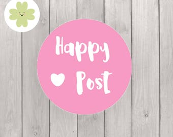 Happy post stickers in any colour suitable as packaging labels for envelope and parcels