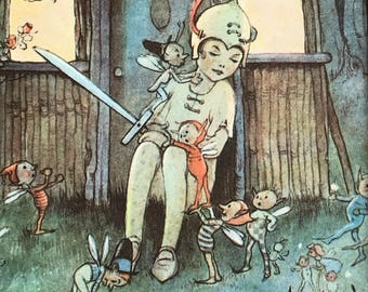 1961-Illustration-Mabel Lucie Attwell-Peter Pan-Wendy-Fairies-Matted-Ready to frame-Nursery-Home decor