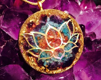 "Orgonite® Pendant ~ Orgone Lotus ~ Shungite, Amethyst, Carnelian, Aventurine EMF Protection Jewelry 1.5"" or 2"""