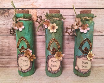 Fairy and Pixie Dust Glass Decorative Bottles