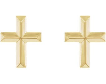 Dainty 14K Gold Cross Studs