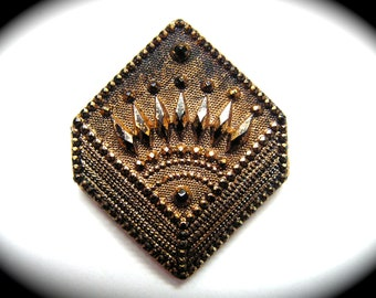 Antique Button ~ Victorian Era Black Glass Imitating Fabric Handkerchief