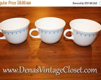 Summer Clearance Sale Vintage Corelle Snowflake Garland Cups Lot of 3