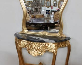 Mirror console Baroque with marble top black mirror console Baroque with marble top black AlKs0316GoSw