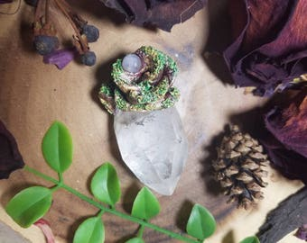Mossy Rose Nurturer with Moonstone and Clear Quartz