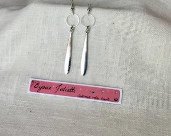 "Long earrings ""evening"" long drop silver"