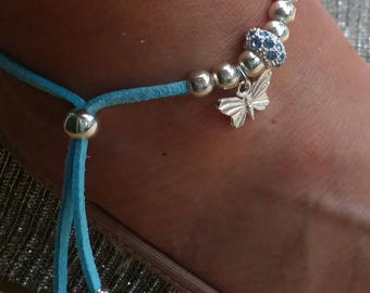 Turquoise butterfly anklet