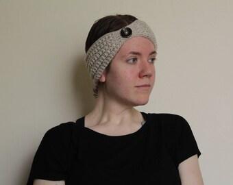 Crochet Headband in Cream with Brown Button